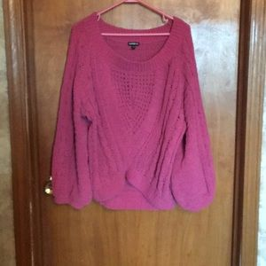 Gorgeous rose sweater by Express with cable knit